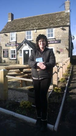 Debbie Young outside venue of Hawkesbury LitFest