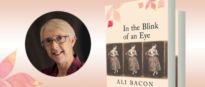 image of Ali Bacon headshot with the cover of In the Blink of an Eye