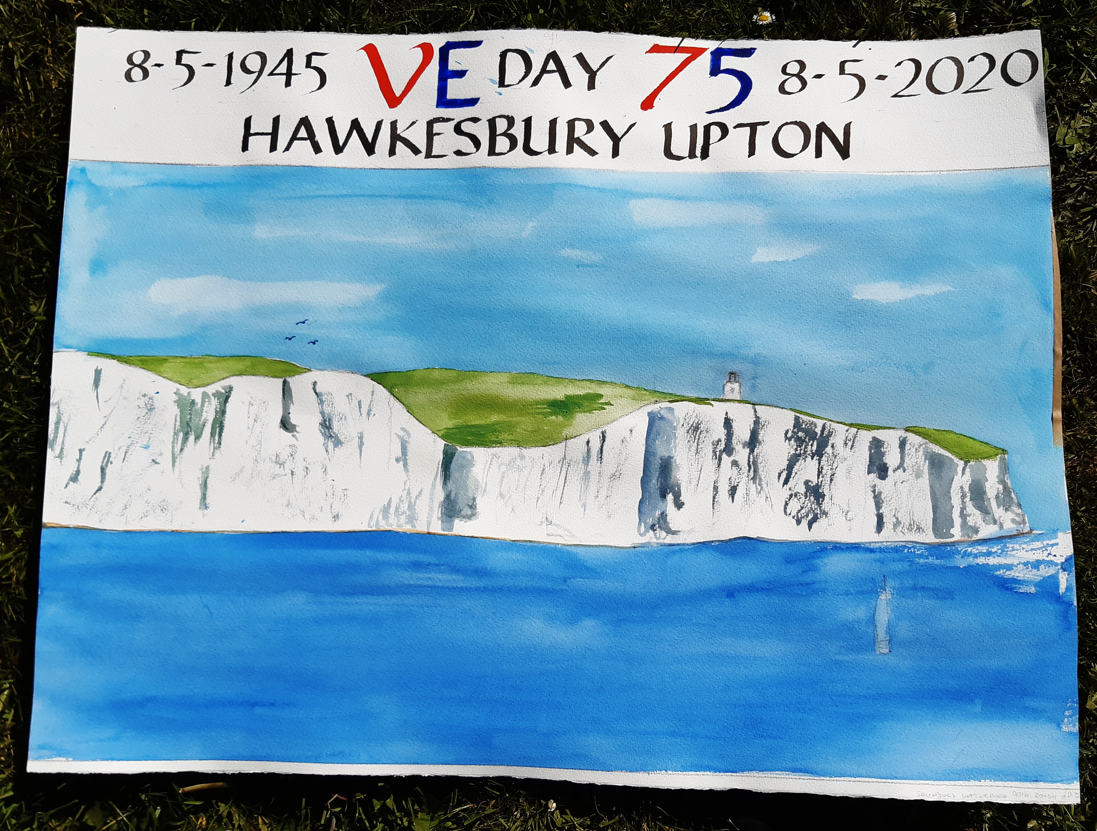 painting of White Cliffs of Dover with VE Day dates and Hawkesbury Upton